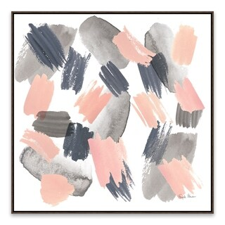 """Gray Pink Mist II"" Framed Hand Embellished Canvas - 24.875W x 24.875H x 2D"