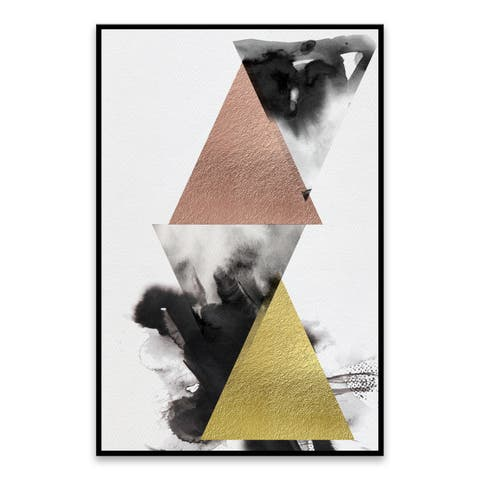 """""""Pyramid"""" Framed Hand Embellished Canvas - 26.25W x 38.25H x 1.25D - Multi-color"""