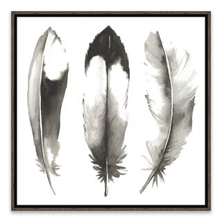 """""""Watercolor Feathers II"""" Framed Printed Canvas - 14.875W x 14.875H x 2D - Multi-color"""
