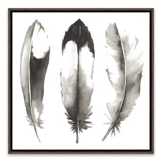 """Watercolor Feathers II"" Framed Printed Canvas - 14.875W x 14.875H x 2D - Multi-color"