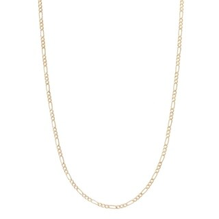 2MM Figaro Chain Necklace in 14K Solid Gold BOXED