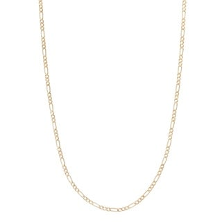 2MM Figaro Chain Necklace in 14K Solid Gold BOXED (5 options available)