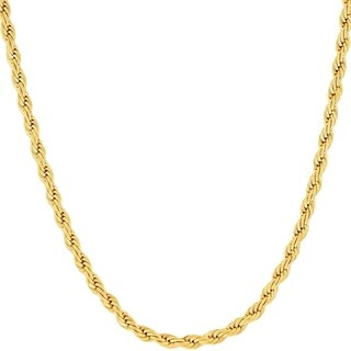 3MM Diamond-cut Rope Chain Necklace in 14K Solid Gold BOXED (5 options available)