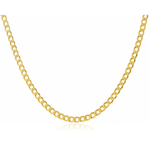 3.3MM Cuban Curb Link Chain Necklace in 14K Solid Gold BOXED