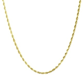 10K Gold 1 8MM Diamond Cut Rope Chain Necklace BOXED