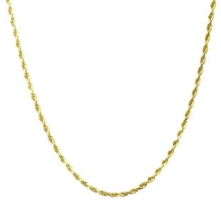 10K Gold 1.8MM Diamond Cut Rope Chain Necklace BOXED