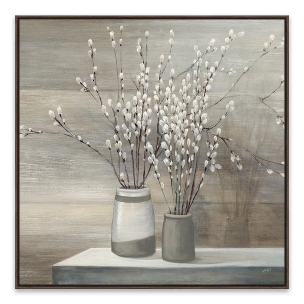 """""""Pussywillow Still Life Gray Pots"""" Framed Printed Canvas - 27.875W x 27.875H x 2D - Multi-color"""