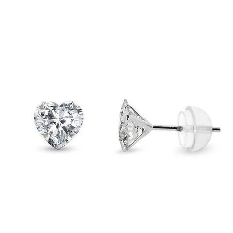 14k White Gold Womens 5mm Heart Cubic Zirconia Martini Setting Stud Earrings