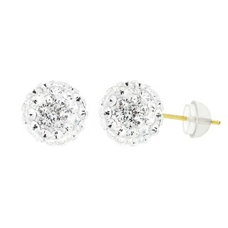 14k Yellow Gold Womens 8mm White Austrian Crystal Ball Studs Earrings