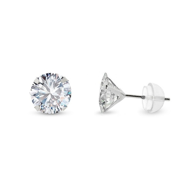 b64ea5c8ff3 Shop 14k White Gold 6mm Brilliant Cut Clear Round Circle Cubic Zirconia  Martini Setting Stud Earrings - Free Shipping On Orders Over  45 -  Overstock - ...