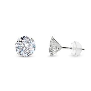 14k White Gold 6mm Brilliant Cut Clear Round Circle Cubic Zirconia Martini Setting Stud Earrings