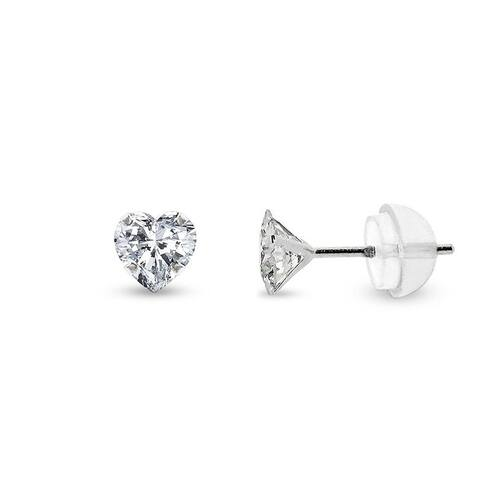 14k White Gold Womens 4mm Heart Cubic Zirconia Martini Setting Stud Earrings