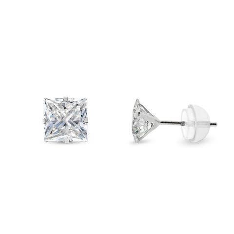 14k White Gold 5mm Brilliant Cut Clear Princess Cut Square Cubic Zirconia Martini Setting Stud Earrings