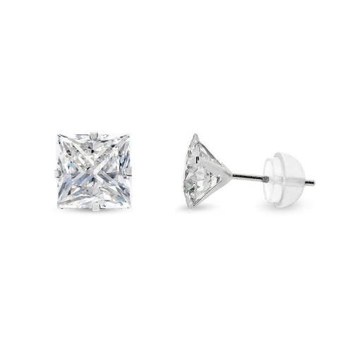 14k White Gold 6mm Brilliant Cut Clear Princess Cut Square Cubic Zirconia Martini Setting Stud Earrings