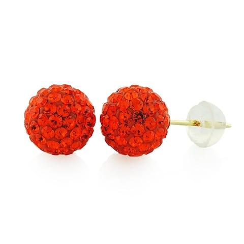 14k Yellow Gold Womens 8mm Red Hot Austrian Crystal Ball Studs Earrings