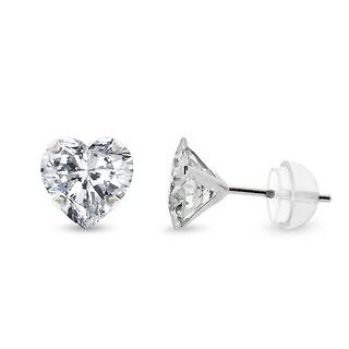 14k White Gold Womens 6mm Heart Cubic Zirconia Martini Setting Stud Earrings