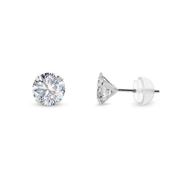 8c6649c0e Shop 14k White Gold 5mm Brilliant Cut Clear Round Circle Cubic Zirconia  Martini Setting Stud Earrings - Free Shipping On Orders Over $45 -  Overstock - ...