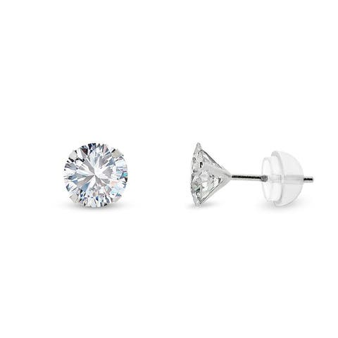 14k White Gold 5mm Brilliant Cut Clear Round Circle Cubic Zirconia Martini Setting Stud Earrings
