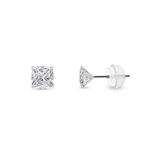 14k White Gold 4mm Brilliant Cut Clear Princess Cut Square Cubic Zirconia Martini Setting Stud Earrings
