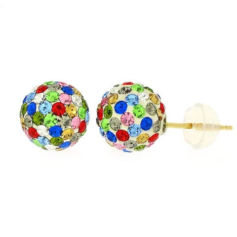 14k Yellow Gold Womens 8mm Multi-Color Austrian Crystal Ball Studs Earrings