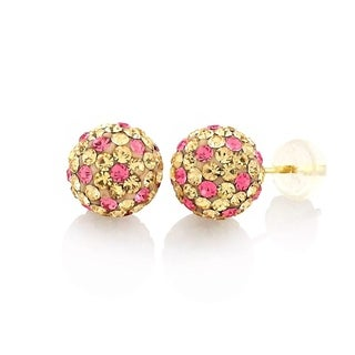 14k Yellow Gold Womens 8mm Peach Hot Pink Austrian Crystal Ball Studs Earrings