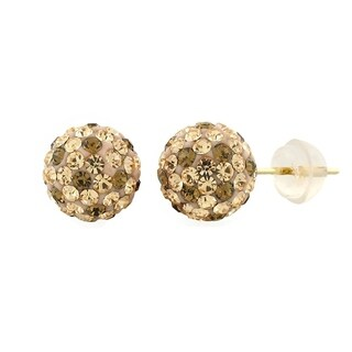 14k Yellow Gold Womens 8mm Leopard Austrian Crystal Ball Studs Earrings