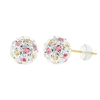 14k Yellow Gold Womens 8mm White Peach Pink Austrian Crystal Ball Studs Earrings