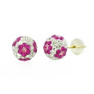 14k Yellow Gold Womens 8mm White Pink Flower Austrian Crystal Ball Studs Earrings