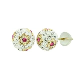 14k Yellow Gold Womens 8mm White Peach Flower Austrian Crystal Ball Studs Earrings