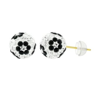 14k Yellow Gold Womens 8mm White Black Flower Austrian Crystal Ball Studs Earrings
