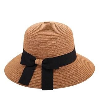 Women Soft Straw Fisherman Hats Wide Brim Ribbon Bowler
