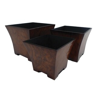Cheung's Burl Print Small Square Tapered Planter Set of 3
