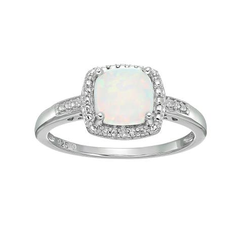 Sterling Silver Cushion Created Opal & Diamond Ring