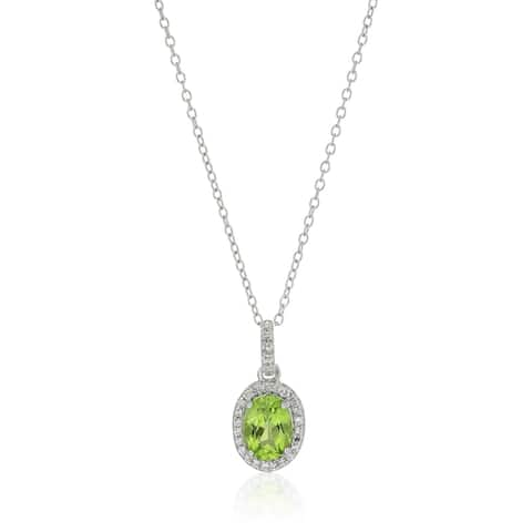 Sterling Silver Oval Peridot and White Topaz Pendant Necklace, 18""