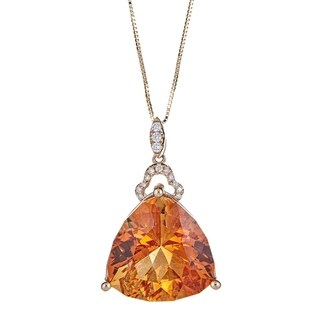 14K Yellow Gold Citrine and Diamond Pendant by Anika And August - White