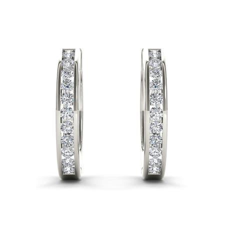 De Couer 10k Gold Diamond Hoop Earrings