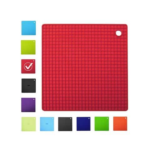 INNOKA Square Shape Durable Silicone Pot Holder Heatproof Mat Trivet Mat - Insulation/ Heat Resistant to 482°F/ Non-slip