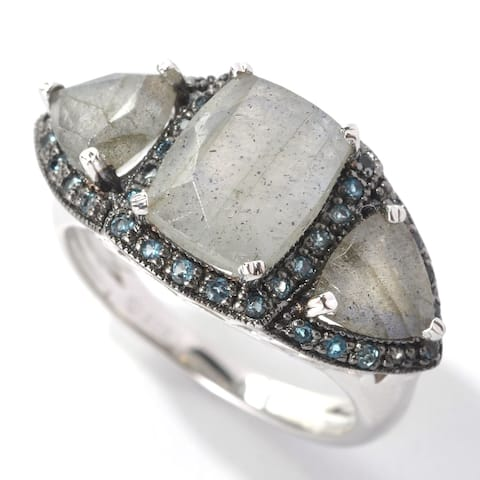 Platinum o/ Silver 4.14ctw Labradorite Cocktail Ring