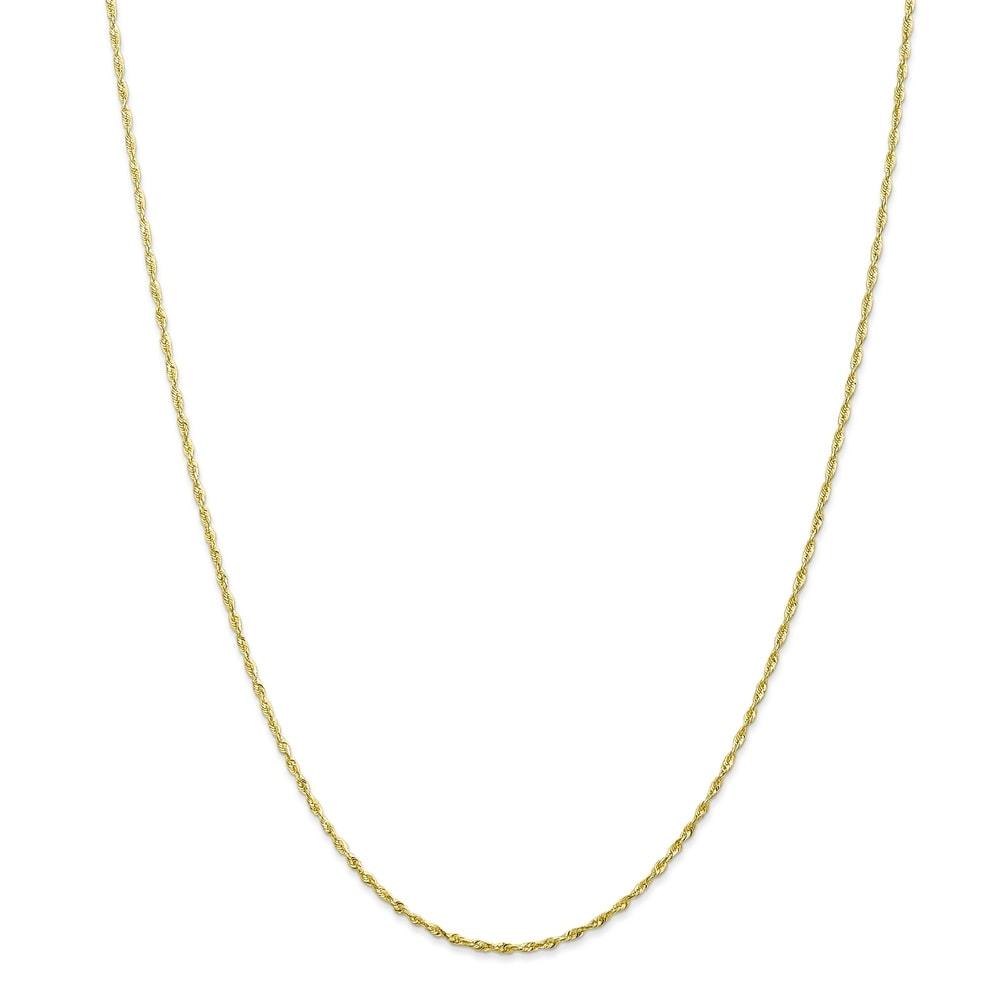 Versil 10 Karat Gold 1.5mm Diamond-cut Lightweight Rope Chain Bracelet