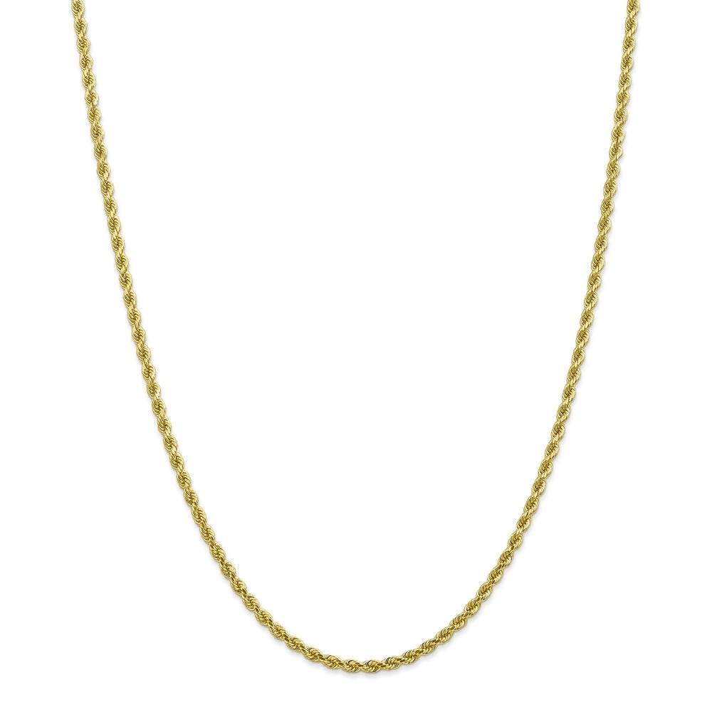 Versil 10 Karat Gold 2.75mm Diamond-cut Rope Chain Bracelet