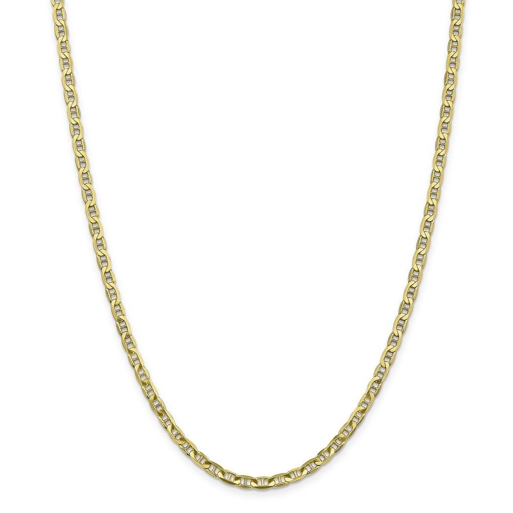 Versil 10 Karat Gold 3.75mm Concave Anchor Chain Bracelet