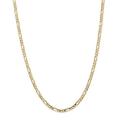 10K Gold 4mm Concave Figaro Chain Bracelet by Versil