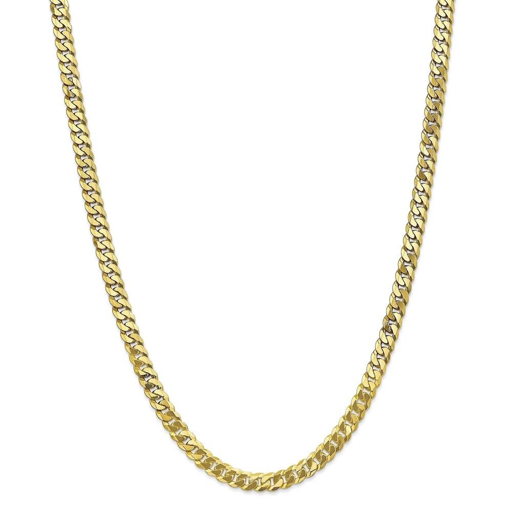 Versil 10 Karat Gold 6.1mm Flat Beveled Curb Chain Bracelet