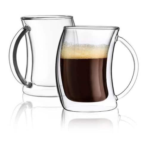 JoyJolt Caleo Double Wall Insulated Glasses, 5.4 Ounce Set of 2 Espresso Cups