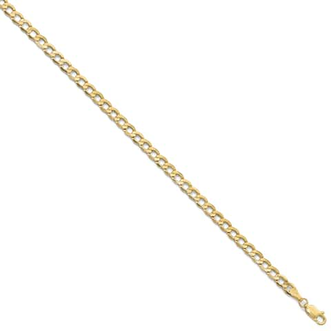 10K Yellow Gold 4.3mm Semi-Solid Curb Link Chain Bracelet by Versil