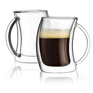 JoyJolt Caleo Double Wall Insulated Glasses, 2 Ounce Set of 2 Espresso Cups