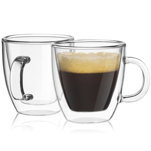 JoyJolt Savor Double Wall Insulated Glasses, Set of 2 5.4 Ounce Espresso Mugs