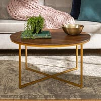 36 Inch Modern Coffee Table with X-Base