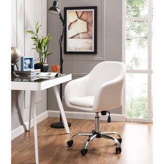 Home Office Chair Executive Mid Back Computer Table Desk Chair Swivel Height Adjustable Ergonomic With Armrest, White