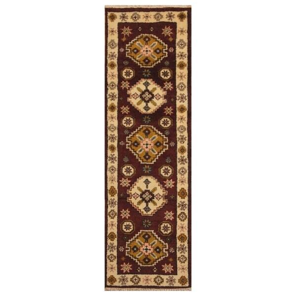Handmade Herat Oriental Indo Hand-knotted Tribal Kazak Wool Runner (2'2 x 6'9) - 2'2 x 6'9